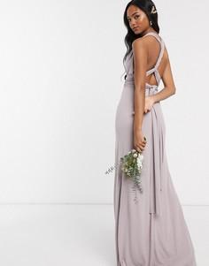 Серое платье-трансформер макси TFNC bridesmaid-Золотистый
