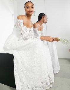 Кружевное свадебное платье с открытыми плечами и длинными рукавами ASOS EDITION Hazel-Белый