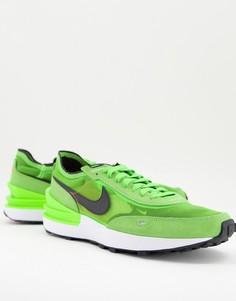 Неоново-зеленые сетчатые кроссовки Nike Waffle One-Зеленый цвет