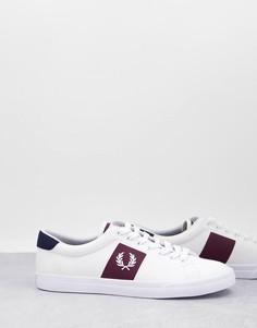 Белые саржевые кроссовки с логотипом на ярлычке Fred Perry Underspin-Белый
