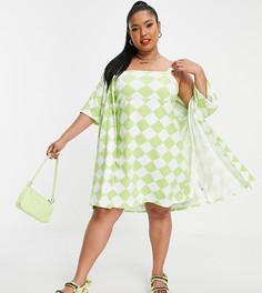 Зеленое платье мини на бретелях и рубашка «2 в 1» с узором «арлекин» ASOS DESIGN Curve-Multi