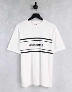"Белая футболка узкого кроя с принтом ""Les Ensemble"" River Island-Белый"