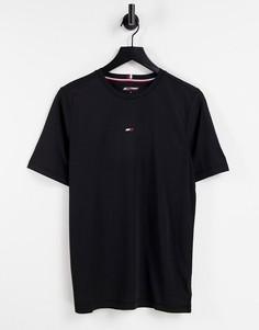 Черная футболка с маленьким логотипом-флагом на груди Tommy Hilfiger Performance-Черный цвет