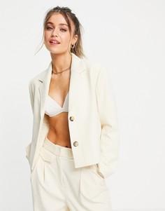 Укороченный блейзер кремового цвета от комплекта Selected Femme-Белый
