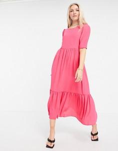 Присборенное платье с пышными рукавами Closet-Розовый