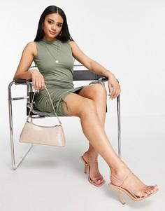 Присборенное платье мини оливково-зеленого цвета с высоким воротником Public Desire-Зеленый цвет
