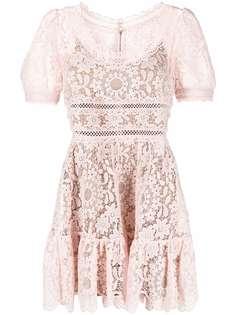 Self-Portrait платье мини с короткими рукавами и кружевом