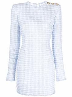 Balmain твидовое платье с длинными рукавами