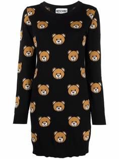 Moschino платье вязки интарсия с узором Teddy Bear
