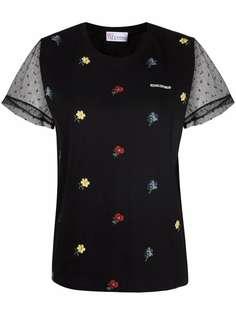 RED Valentino футболка с цветочной вышивкой