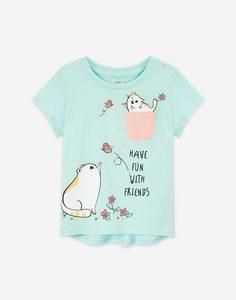 Мятная футболка с принтом и карманом для девочки Gloria Jeans