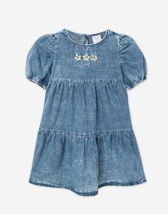 Джинсовое ярусное платье с вышивкой для девочки Gloria Jeans