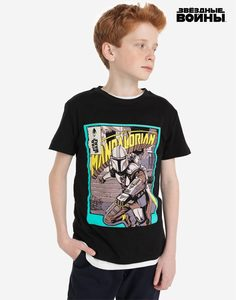 Чёрная футболка с принтом Star Wars для мальчика Gloria Jeans