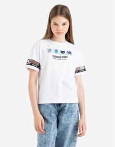Белая футболка с принтом Summer vibes и нашивками для девочки Gloria Jeans