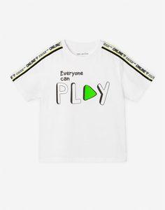 Белая футболка с принтом Play для мальчика Gloria Jeans