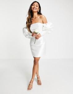 Свадебное платье мини с открытыми плечами и пышными рукавами ASOS EDITION-Белый