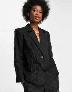 Черный свободный блейзер от комплекта Selected Femme-Черный цвет