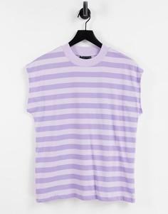 Сиреневая футболка свободного кроя в полоску безрукавов ASOS DESIGN-Фиолетовый цвет