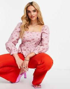 Розовый топ с пышными рукавами и цветочным принтом River Island-Розовый цвет