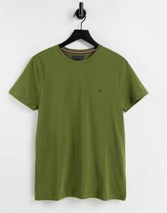 Темно-зеленая футболка узкого кроя с маленьким логотипом Tommy Hilfiger-Зеленый цвет