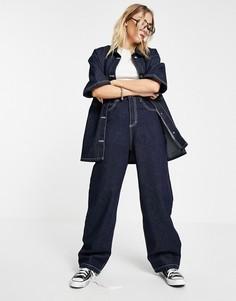 Свободные джинсы из необработанного денима (от комплекта) Topshop-Голубой