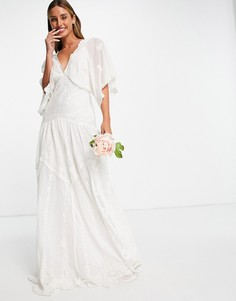 Свадебное платье из сетчатой ткани добби с вышивкой ASOS EDITION Jessica-Белый