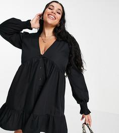 Черное свободное платье мини на пуговицах с присборенными плечами ASOS DESIGN Curve-Черный цвет