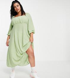 Зеленое платье миди в клетку с присборенной отделкой и квадратным вырезом ASOS DESIGN Curve-Многоцветный