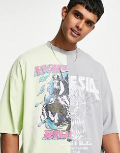 Oversized-футболка в стиле колор-блок зеленого и серого цветов с рисунком черепа и надписью ASOS DESIGN-Multi