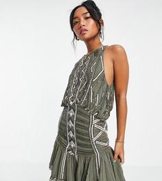 Декорированное платье-мини с ассиметричным подолом и высоким воротом ASOS DESIGN Petite-Коричневый цвет
