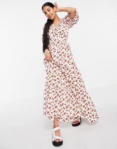 Ярусное платье макси с объемными рукавами и клубничным принтом ASOS DESIGN-Multi
