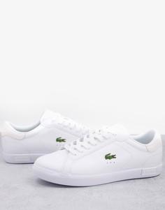 Белые кроссовки с логотипом крокодила Lacoste Powercourt-Белый