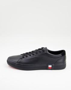Черные кожаные кроссовки премиум-класса смаленьким флажком по бокам Tommy Hilfiger Vulc-Черный цвет
