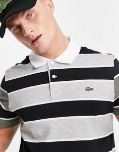 Серая футболка-поло в полоску Lacoste-Серый