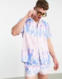 Свободная рубашка от комплекта с отложным воротником и сиреневым принтом тай-дай ASOS DESIGN-Фиолетовый цвет
