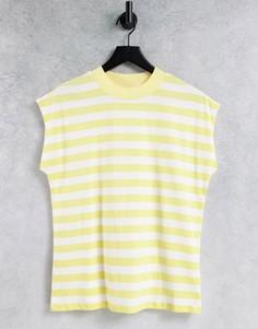 Желтая футболка свободного кроя в полоску без рукавов ASOS DESIGN-Желтый