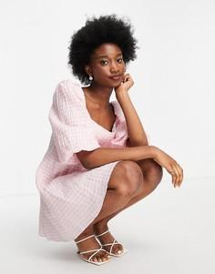 Нежно-розовое свободное платье мини в клетку со сборками и oversized-рукавами Forever New-Multi
