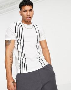Белая футболка в полоску из ткани пике Fred Perry-Белый
