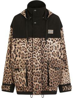Dolce & Gabbana ветровка с леопардовым принтом и капюшоном