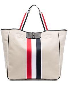 Thom Browne полосатая сумка-тоут из канваса