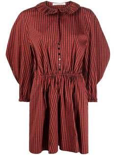 Philosophy Di Lorenzo Serafini клетчатое платье с объемными рукавами