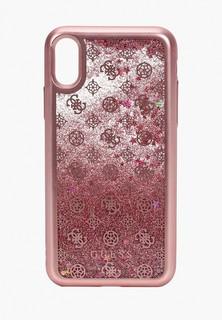 Чехол для iPhone Guess X / XS, Glitter 4G Peony Pink