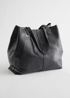 """Кожаная сумка-тоут с тисненым узором """"под змею"""""""