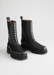 Кожаные ботинки в байкерском стиле с квадратным носком & Other Stories