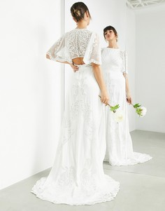 Свадебное платье с расклешенными рукавами и винтажной вышивкой ASOS EDITION Savannah-Белый