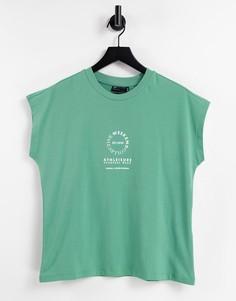 Футболка без рукавов цвета выбеленного хаки с логотипом от комплекта ASOS Weekend Collective-Зеленый цвет