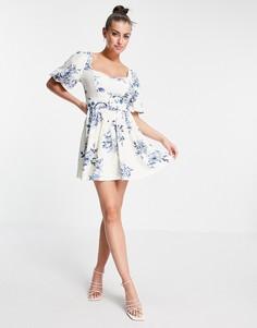 Платье мини с поясом, объемными рукавами, вышивкой и корсетной вставкой с расклешенной юбкой и цветочным принтом ASOS DESIGN-Multi