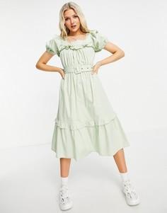 Шалфейно-зеленое платье миди с поясом и пышными рукавами Influence-Зеленый цвет