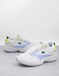 Белые кроссовки сэлементами пастельных цветов намассивной подошве Lacoste-Белый