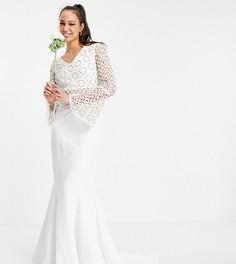 Белое платье с длинными рукавами и кружевом Virgos Lounge Tall Bridal-Белый
